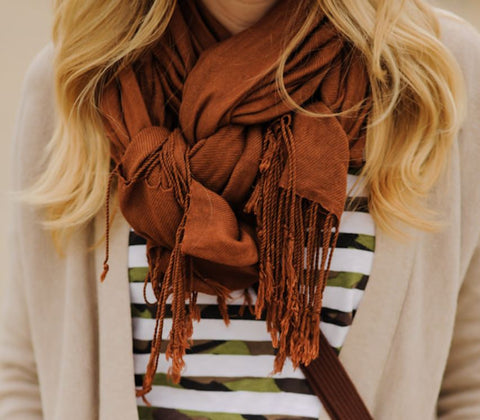 Brown Chenille Scarf with Fringe