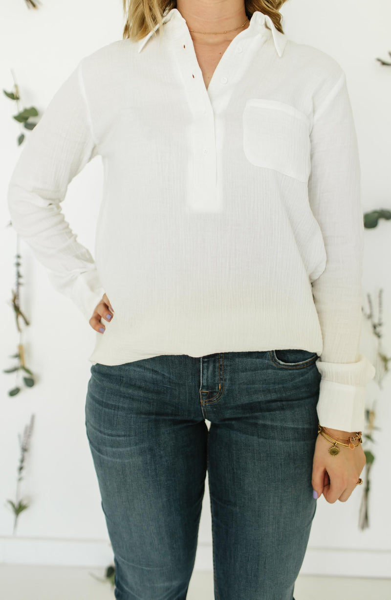 JACK by BB Dakota All Buttoned Up White Collared Shirt Trinity Clothing