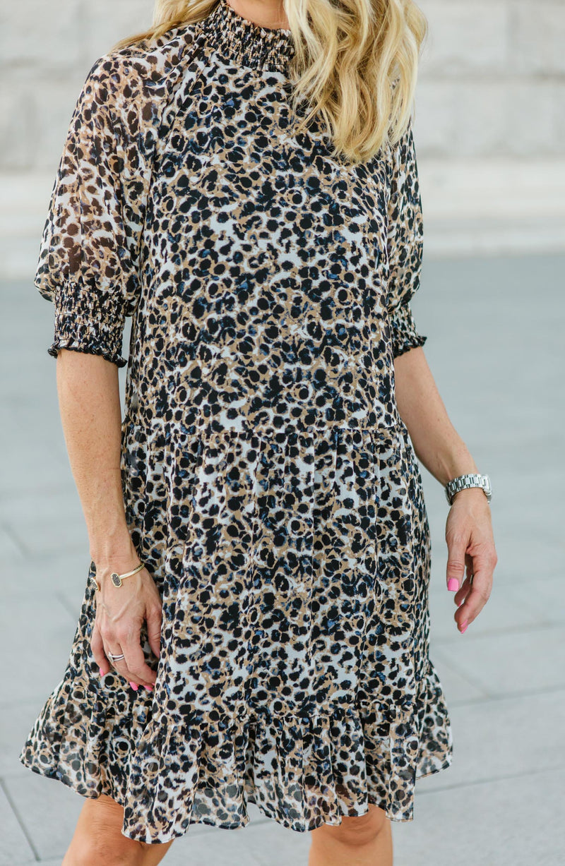 Belle Mock Neck Leopard Print Dress Trinity Clothing