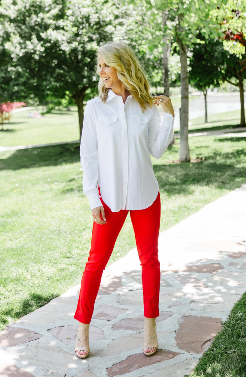 Lysse Red Britt Ankle With Lace Trouser Trinity Clothing