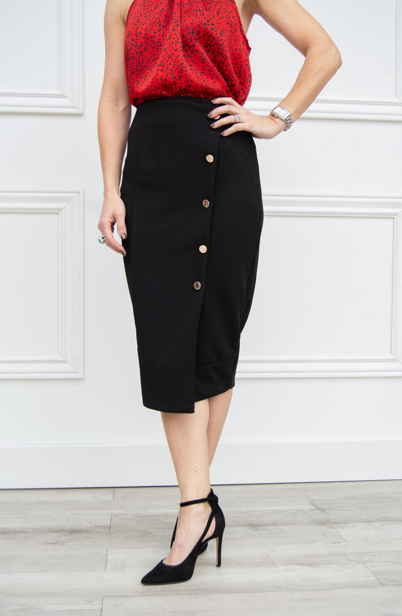 Button Front Pencil Skirt