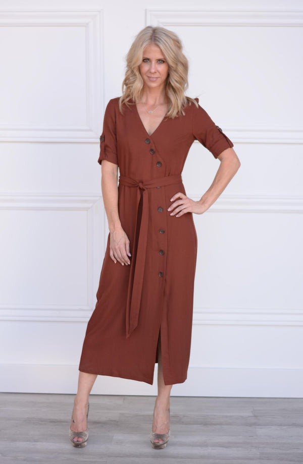 Button Up Your Story Midi Dress