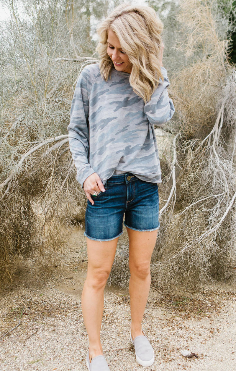Lace-up Back Camo Sweatshirt