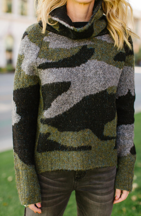 Camo Love Turtleneck Sweater