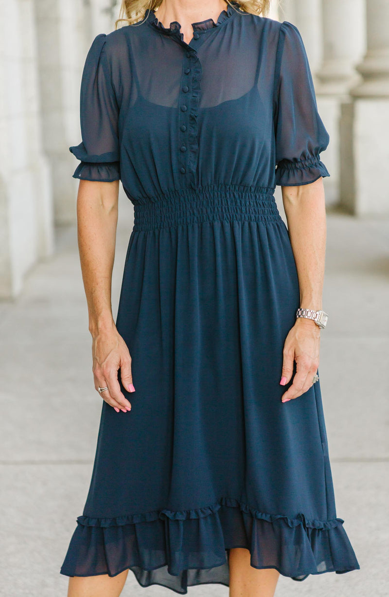 Clementine Navy Ruffled Dress Trinity Clothing