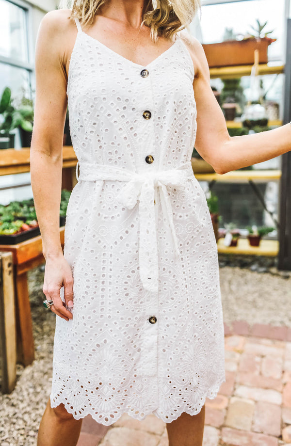 White Crochet Button Down Dress Trinity Clothing