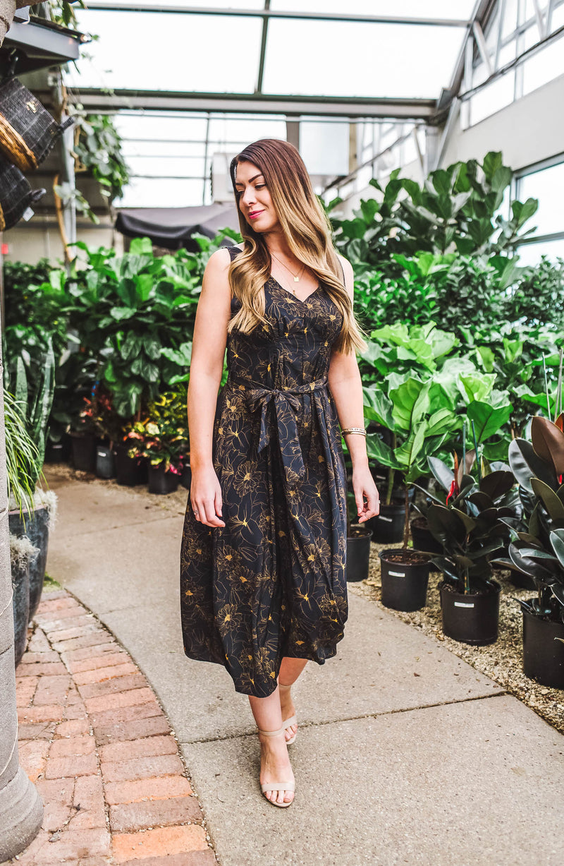 Double V-Neck Belted Navy Maxi Dress Trinity Clothing