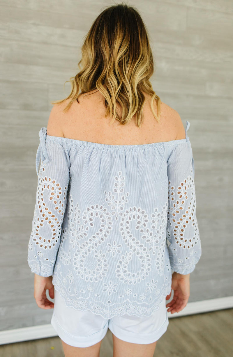 Flowerland Off-The-Shoulder Blouse Trinity Clothing