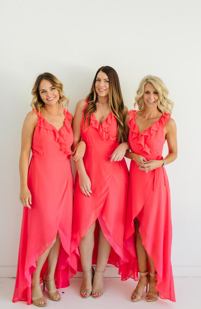 Formation Cross Back Pink Bridesmaid Maxi Dress Trinity Clothing
