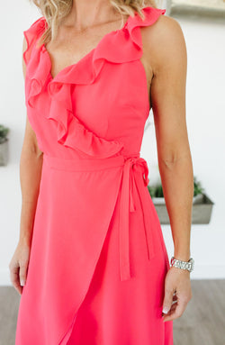 Formation Cross Back Pink Maxi Dress Trinity Clothing