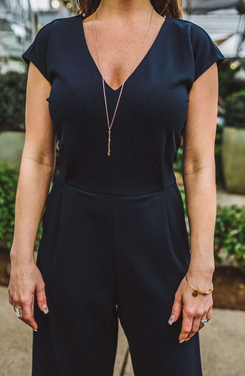 Front Tie Navy Jumpsuit Trinity Clothing
