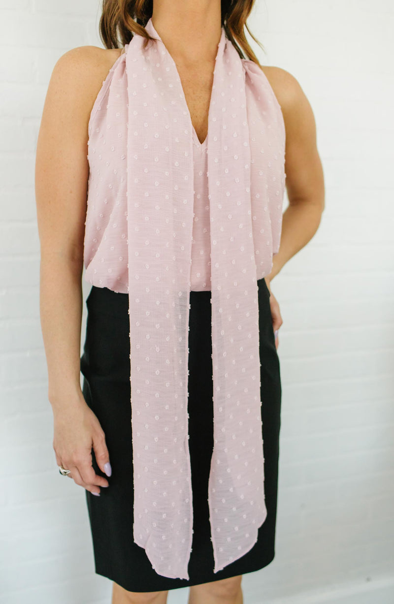 Blush Halter Neck Tie Blouse Trinity Clothing
