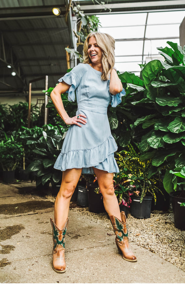 Indigo Ruffle Dress Trinity Clothing