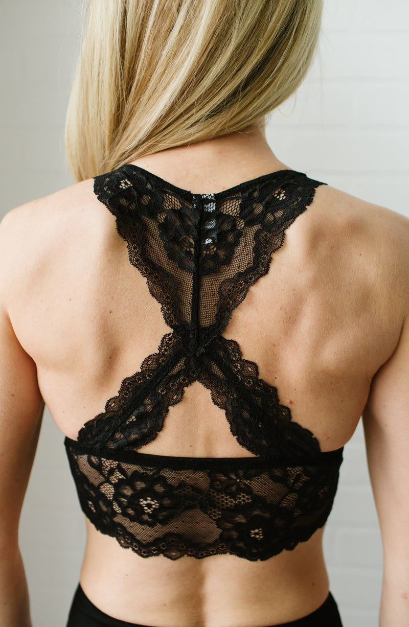 Black Lace Racerback Padded Bralette Trinity Clothing