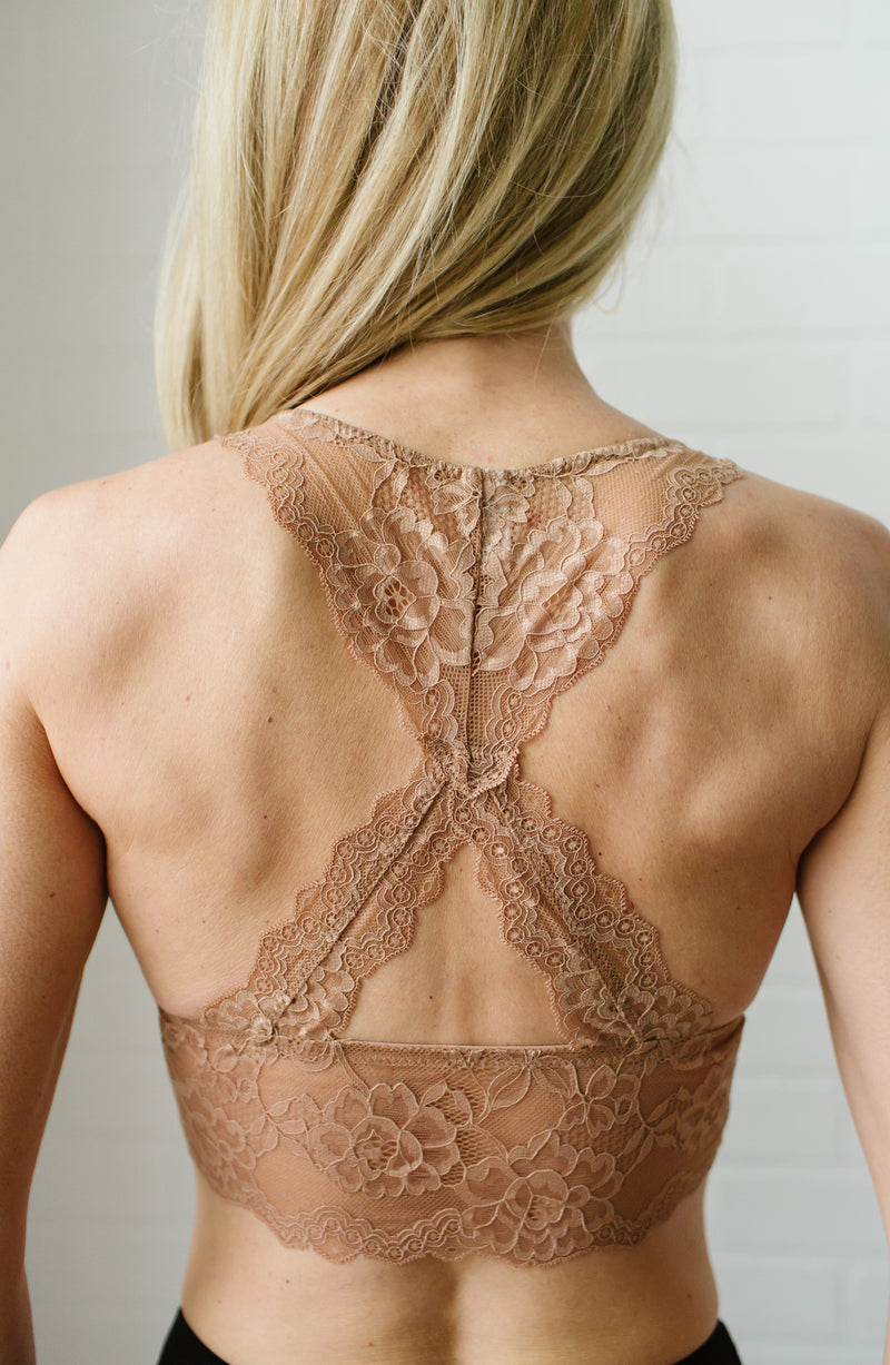 Nude Lace Racerback Padded Bralette Trinity Clothing
