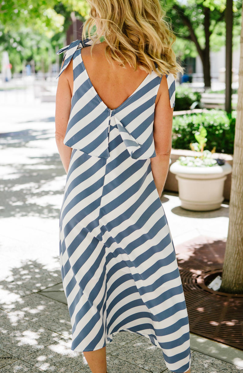 Lisette Sleeveless Striped Dress Trinity Clothing