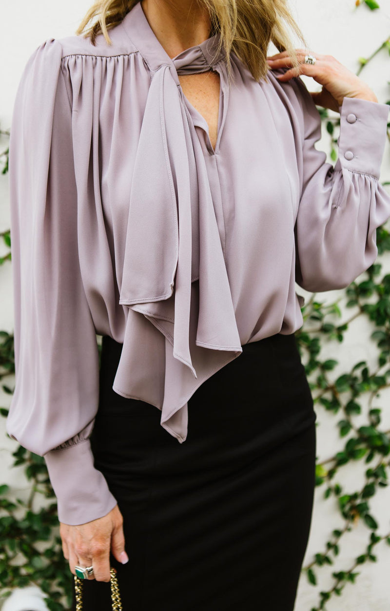 Long Sleeve Neck Tie Blouse
