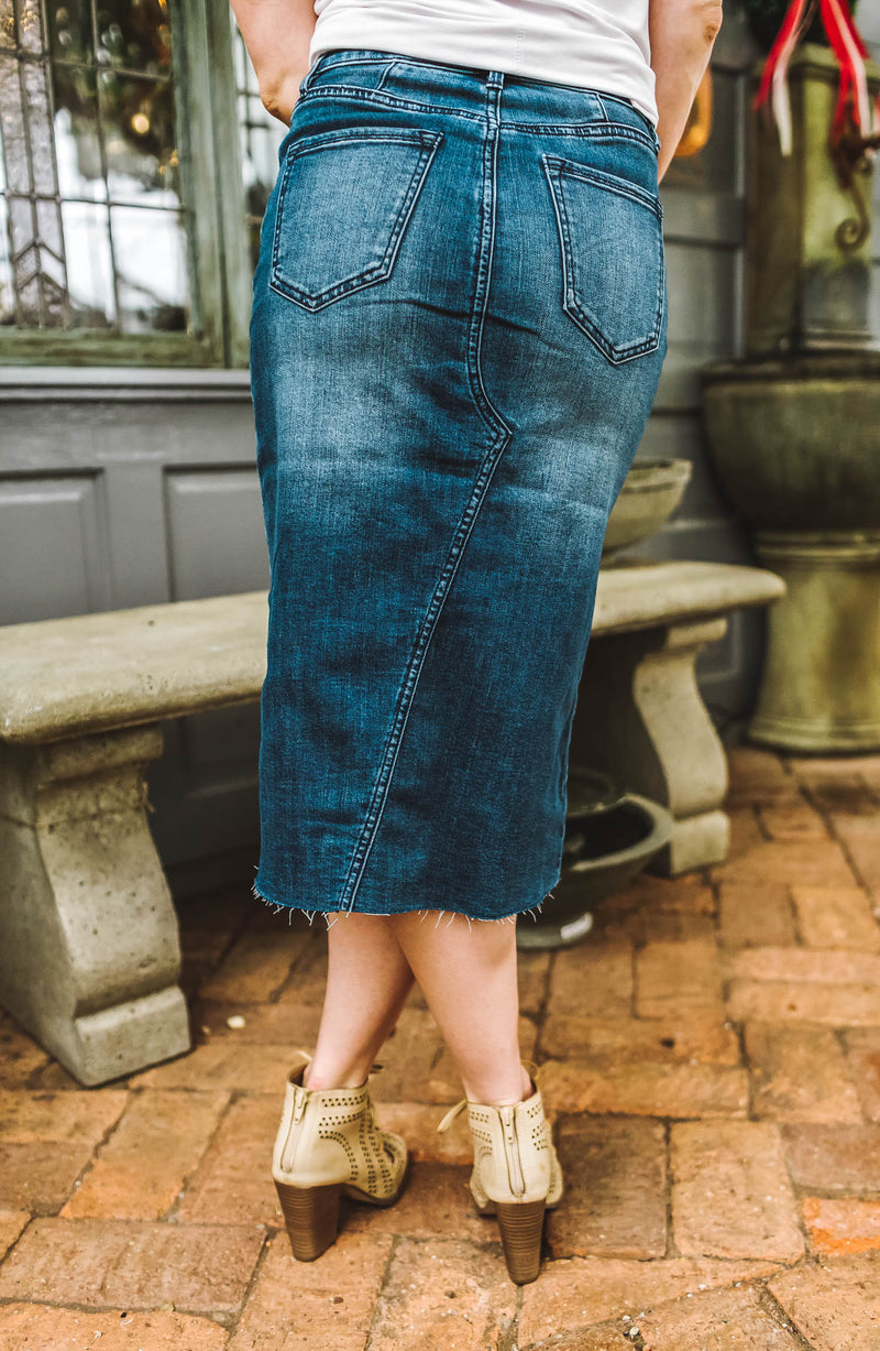 Moselle Denim Midi Skirt Trinity Clothing