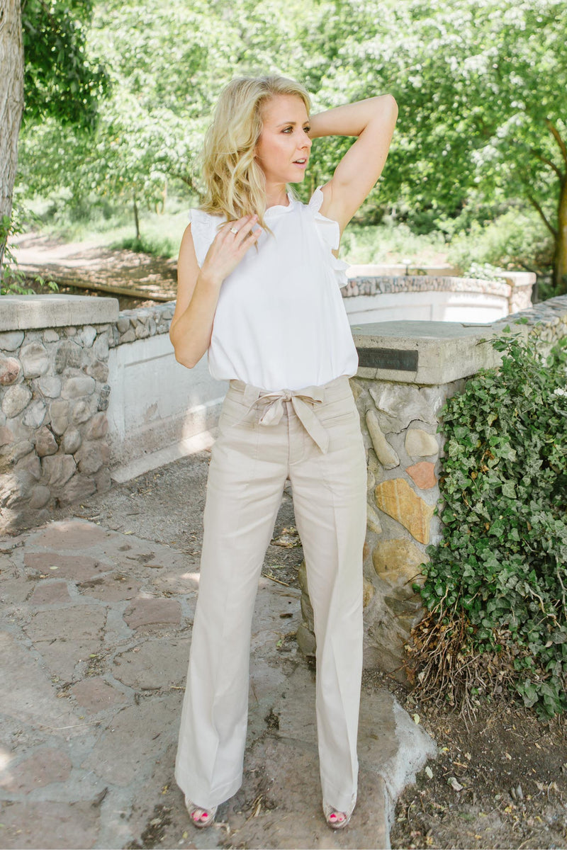 Level 99 Natasha Tie Belt Linen Pant Trinity Clothing