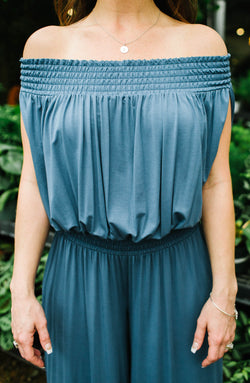 Off-Shoulder Blue Jumpsuit Trinity Clothing