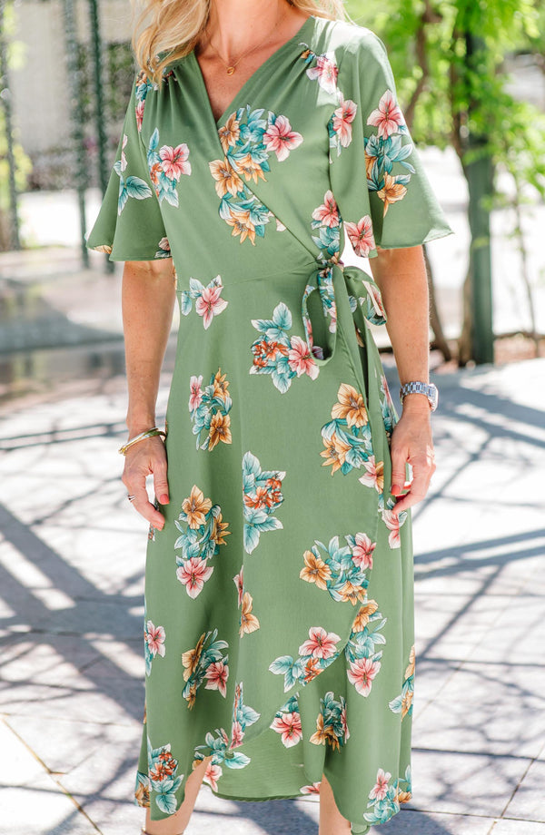 Orna Green Floral Wrap Dress Trinity Clothing