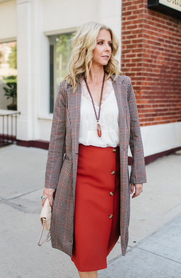 Plaid Boyfriend Trench