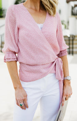 Marisa Polk Dot Wrap Blouse