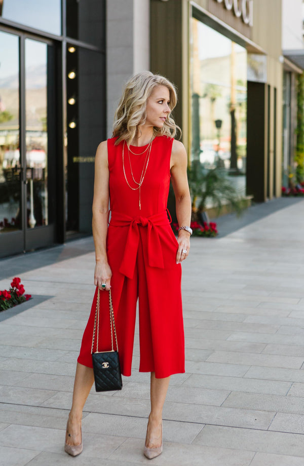Rachel Crop Red Jumpsuit Trinity Clothing