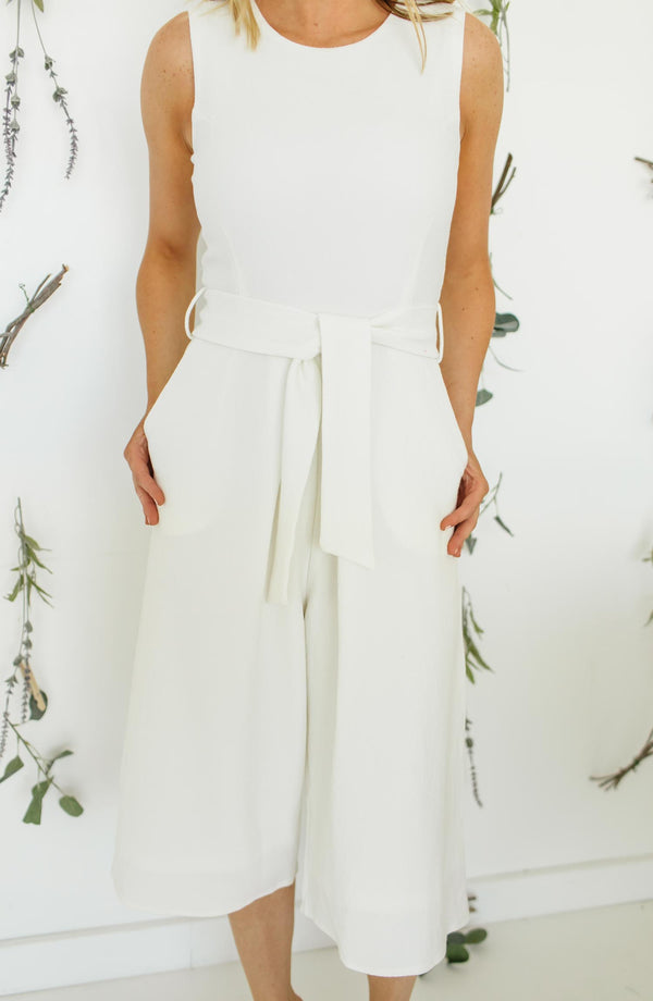 Rachel Crop White Jumpsuit Trinity Clothing