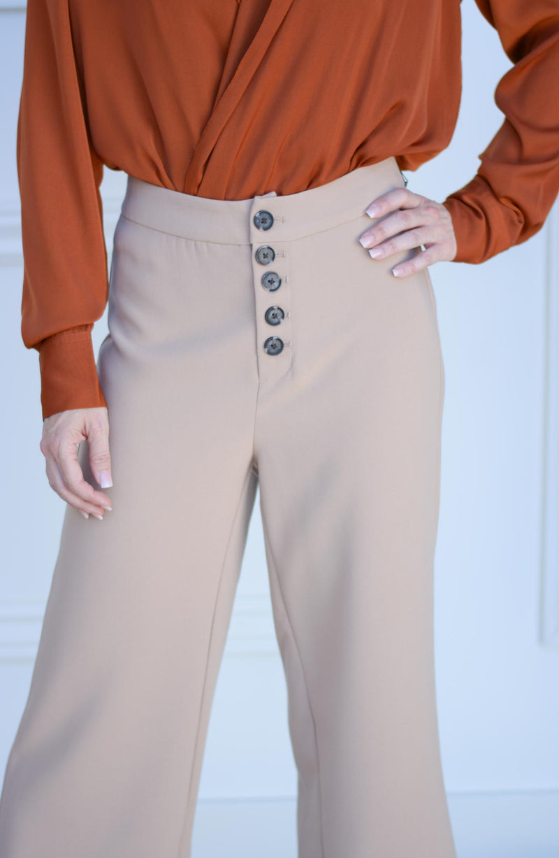 Riga Button Front Wide Leg Trouser