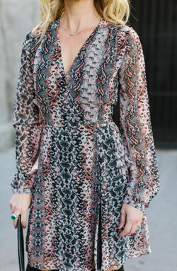 Rusted Snakeskin Wrap Dress