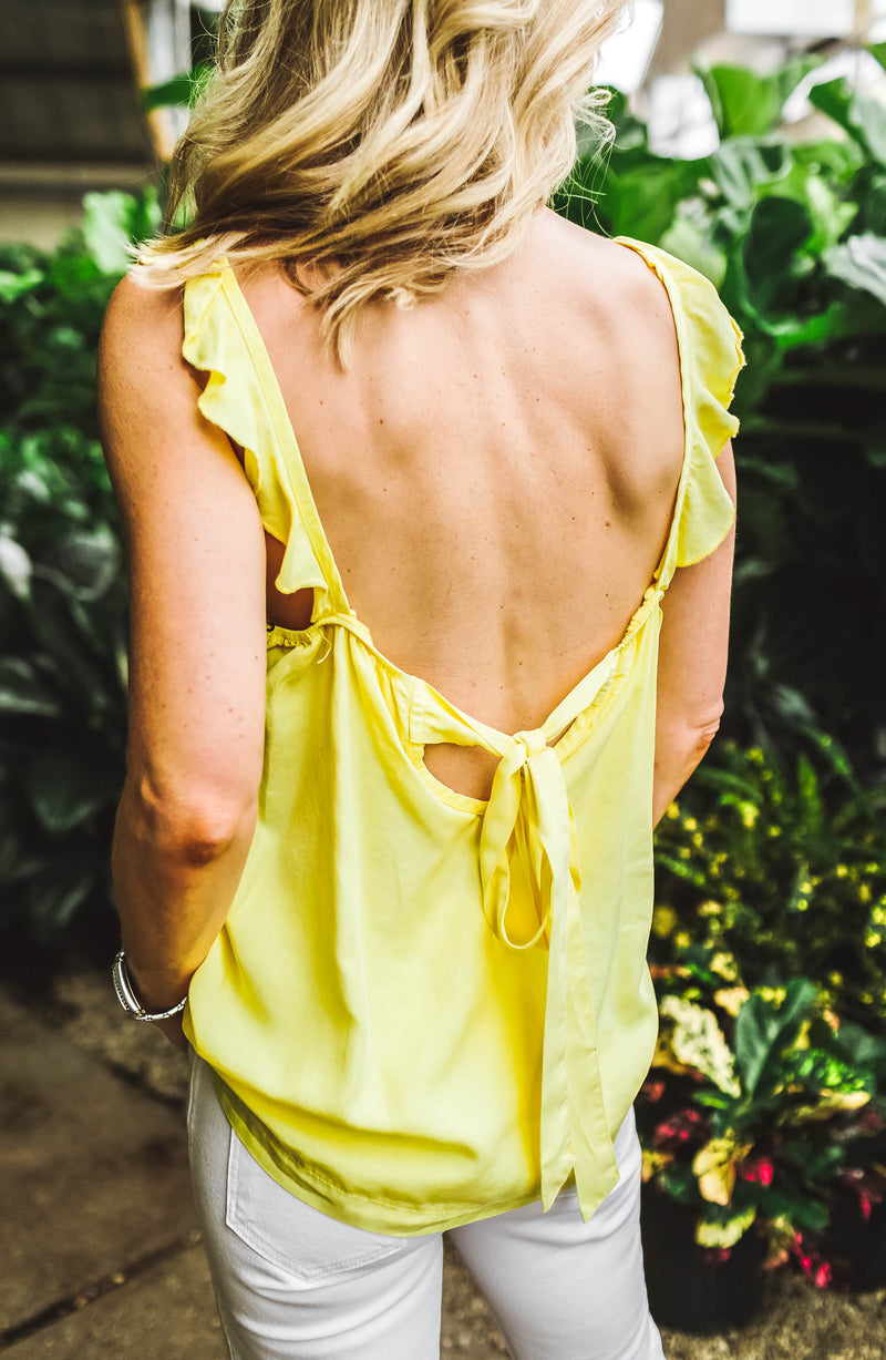 Velvet Heart Salem Yellow Ruffle Tank Trinity Clothing