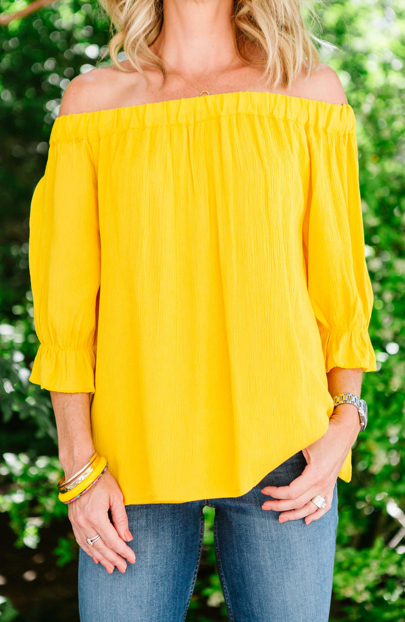 Soak Up The Sun Peasant Top Marigold Trinity Clothing