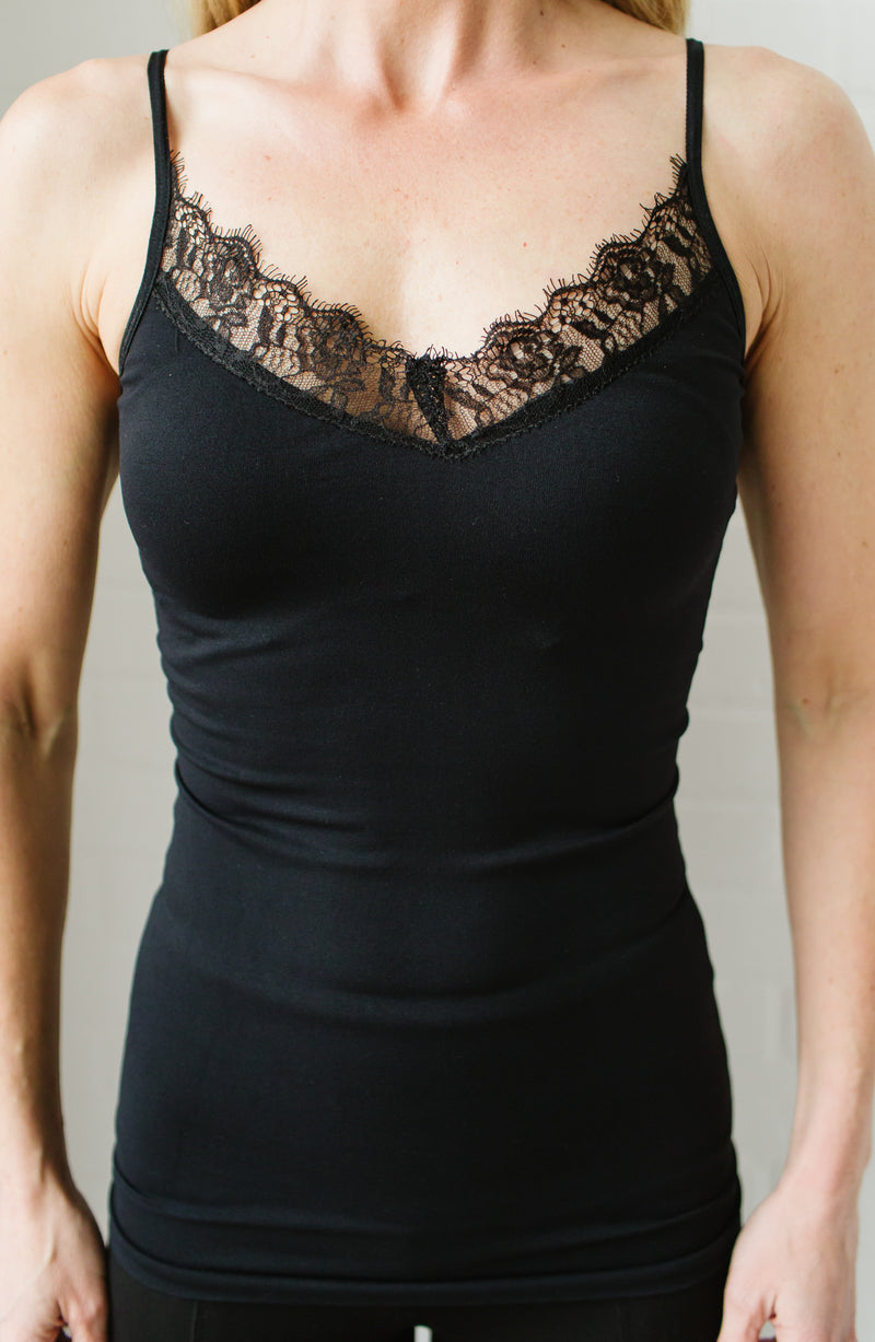 Black Lace Trim Spaghetti Strap Cami Trinity Clothing