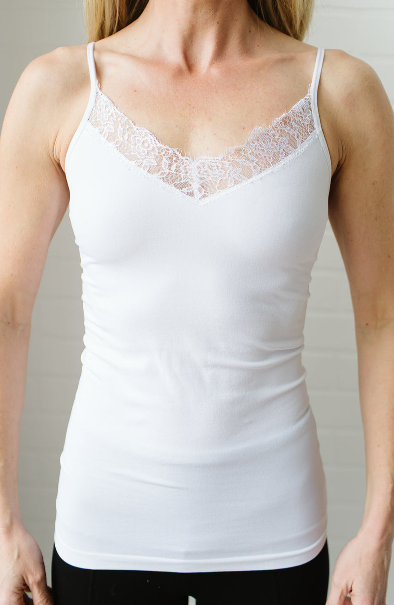 White Lace Trim Spaghetti Strap Cami Trinity Clothing