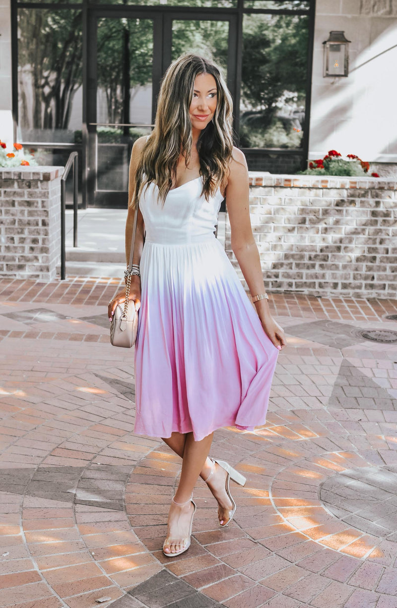 Catherine Poplin Wearing Sunset Ombre Maxi Dress Trinity Clothing