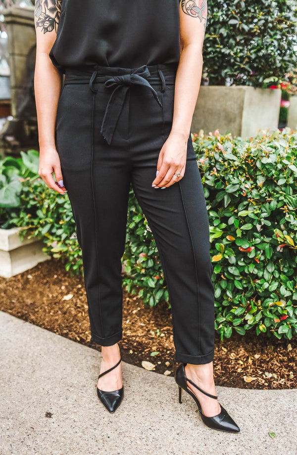 Tegan Black Paperbag Trousers Trinity Clothing
