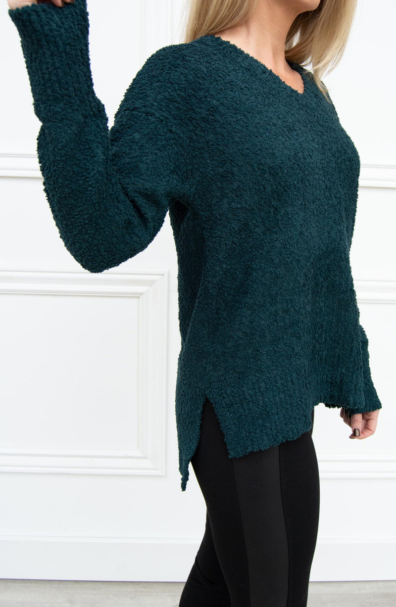 V-Neck Teddy Sweater