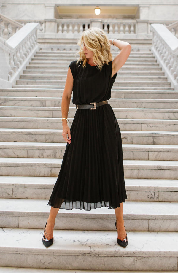 Tiffany Black Pleated Dress Trinity Clothing