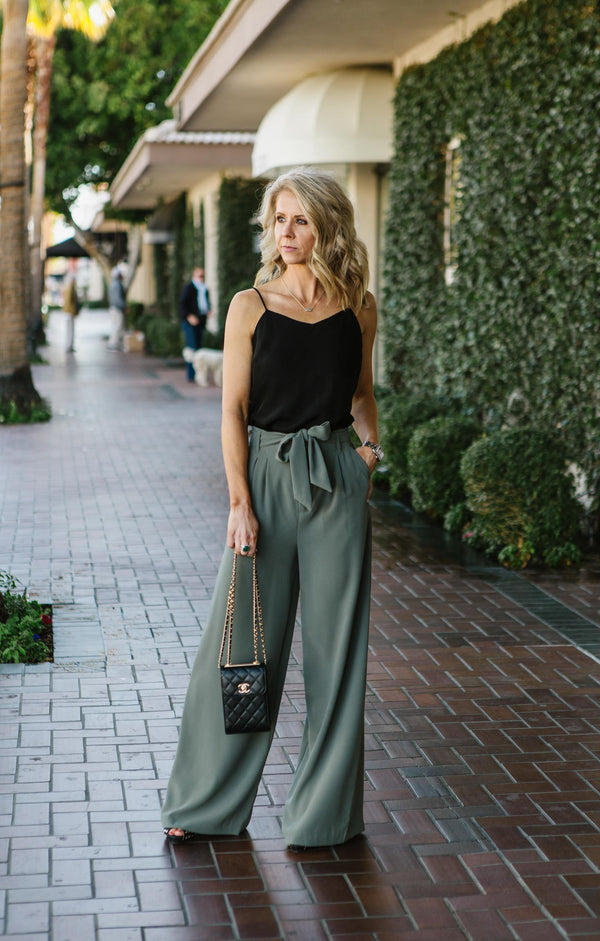 Wide Stride Tie Waist Trouser