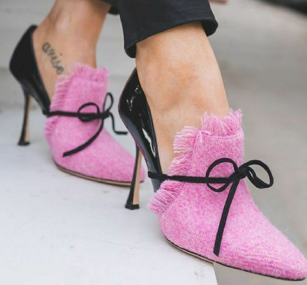 Middle Heels Pink Wool Textile Design Pumps
