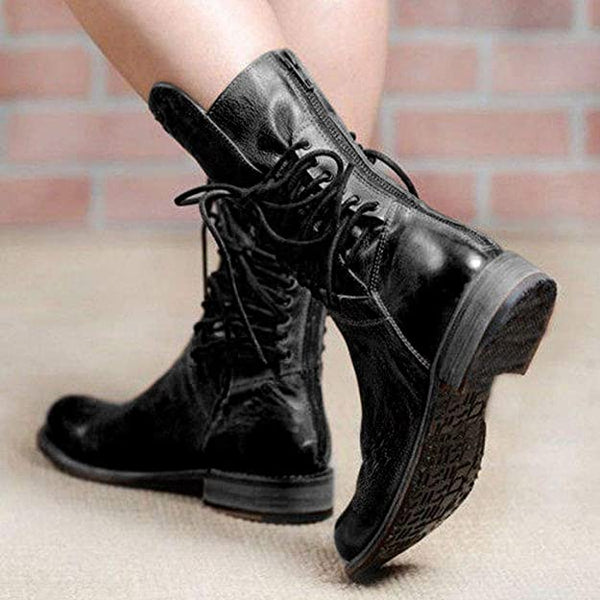 Women's Riding Boots Middle Calf Boots Booties Retro Low Heel Lace-up Boots Zipper Block Platform