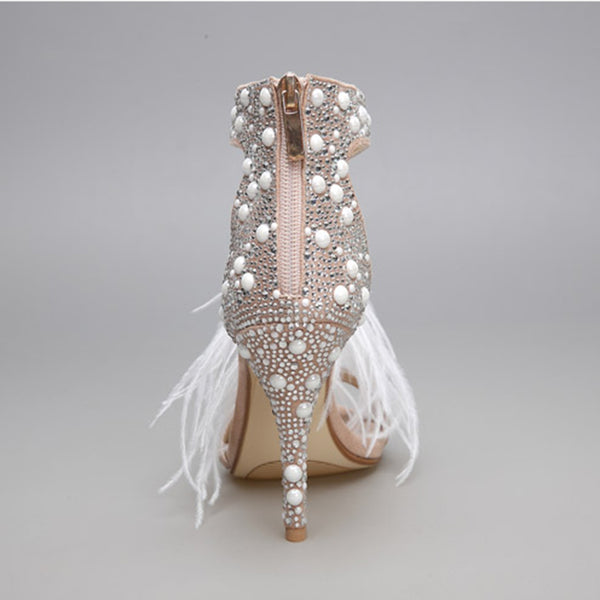 Women's Shoes - Suede and Hot Fix Crystal Embellished Sandals with an Ostrich Feather Tassel