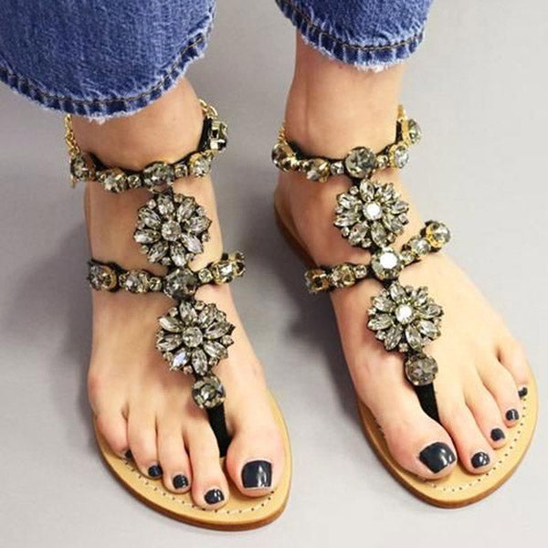 Women's Summer New Fashionable Comfortable Flat Thong Rhinestone Roman Sandals