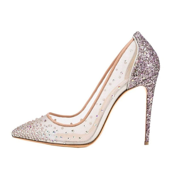 Women's Shoes - Rhinestone Pointed Toe Silver High Heels Women Pumps Transparent Party Wedding Shoes