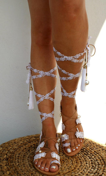 Women's Shoes - Wedding sandals/ gladiator leather sandals /boho sandals/ bridal sandals/ lace up sandals/ crocheted sandals/ beach sandals