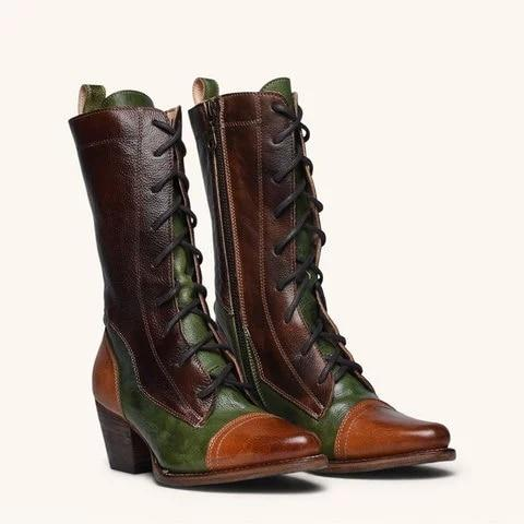 2020 New Arrival Lace-up Genuine Leather High Boots For Women