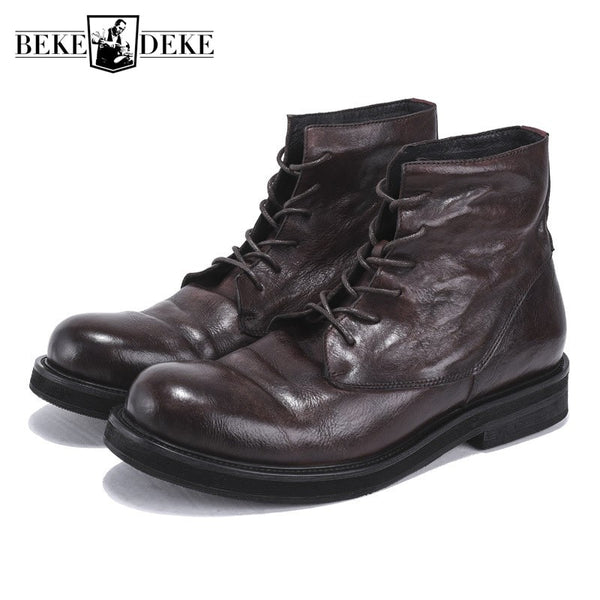 Genuine Leather Retro Work BootsLace Up Luxury Trainers British High-Top Ankle Riding Boots Casual Shoes