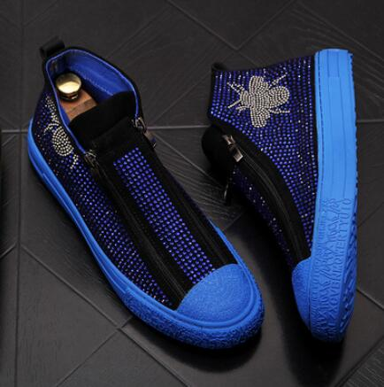 Men zipper Causal Luxury Shoes Red Black Bottom rubber Shoes for Male