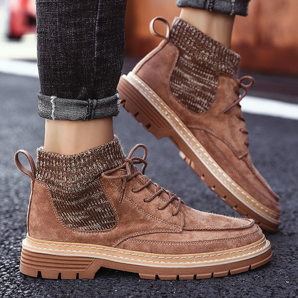 2020 Autumn New Men Boots High Quality Flannel Men Boots